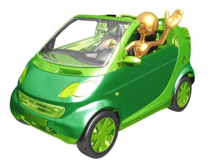 green vehicle, gold driver